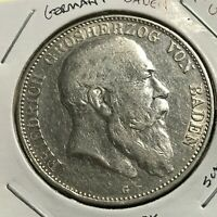 1907-G GERMANY BADEN SILVER 5 MARKS SCARCE CROWN COIN