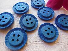 lot 8 boutons bleu vintage travaillé  diamètre: 2,1 cm  ref 888