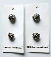 "Vintage Carded JHB International Black Silver Tone Metal  5/8"" Shank Buttons"