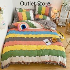 Color Stripes Printing Velvet Flannel Fleece  Bedding Set Cover Set Bed Sheet