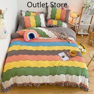Color Stripes Printing Velvet Flannel Fleece  Bedding Set Cover Set Bed Sheet