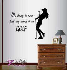 Vinyl Decal My Mind on Golf Player Girl Woman Sportsman Golf Course Sticker 366