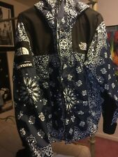 Supreme X The North Face Paisley Bandana Blue Mountain Parka Jacket sz M
