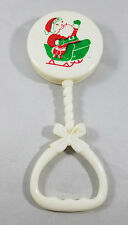 Christmas Baby Rattle Toy Santa Sleigh Vintage Plastic White Red Green