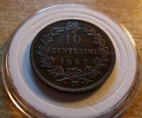 XF 1867 OM ITALY 10 CENTESIMI. Scarce coin with great details. new holder includ
