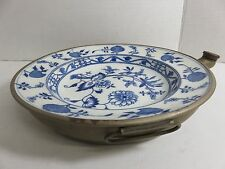 Meissen Blue Onion Crossed Swords Porcelain Circular Brass-mounted Warming Plate