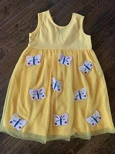 Hanna Andersson 120 (size 6-7) Girls Yellow Butterfly Dress NWT