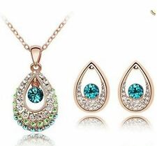 Austrian Crystal Teardrop Teal Necklace Earrings Gold Bridesmaid Wedding Jewelry