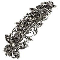 10cm Vintage Crystal Silver Filligree Flower Leafy  Hair Barrette Clip Slide