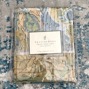 RARE! NEW! Pottery Barn Map Shower Curtain 72 x 72 PVC