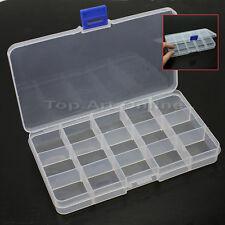 Pratique Boîte Rangement Plastique 15 Compartiments Pr Bijoux Boucle Breloque