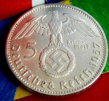1937-A NAZI BIG SWASTIKA GERMAN 5 Mark .900 SILVER COIN-WW2 GERMANY 5 ReichsMark