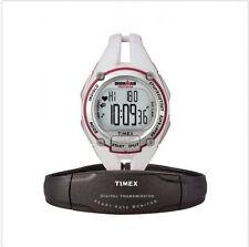 Timex T5K448 Ironman Triathlon Trainer - ALL WHITE/SILVER! MIDSIZED HR Monitor!