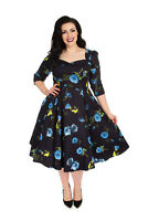 Hearts & Roses 50's Womens Vintage Blue Melody Retro Rockabilly Plus Swing Dress