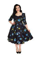 Hearts & Roses 50's Womens Vintage Blue Melody Retro Rockabilly Plus Swing Dress