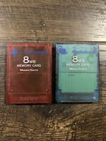 2 Official OEM Sony Playstation 2 PS2 Memory Card Lot 8MB Magic Gate BLUE & RED