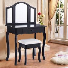 Black Tri Folding Mirror Vanity Makeup Table Set Bedroom W/Stool & Drawer