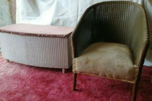 Original vintage Lloyd loom ottoman and matching tub chair