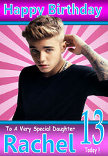 NEW JUSTIN BIEBER Personalised Birthday Card!! ANY NAME, RELATION & AGE! 5 COOL!