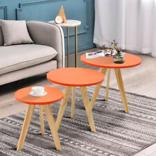 Nest of 3 Scandinavian Round Side Table Retro Coffee Table Living Room Lounge UK