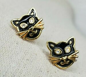 Vintage Black Cat Earrings Gold Tone Enamel Rhinestones Pierced Halloween Avon