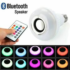 LED Wireless Bluetooth Bulb Light Speaker E27 RGB Smart Music Play Lamp + Remote
