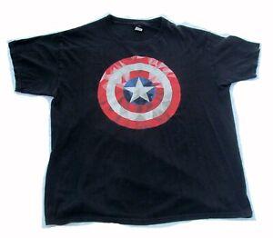 Avengers Marvel Captain America Logo Black Men's T-shirt Tee Size 2XL XXL