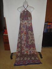 Boston Proper Maxi  Halter Dress Floral Sheer Scarf Print BoHo Size 10