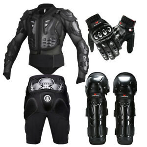 Motorcycle Armored Jacket Shorts Body Protector Moto Gloves Knee Brace Pads Mens