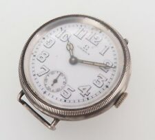 Vintage 1914 Omega Officers Sterling Silver Men's Wrist Watch No Res!