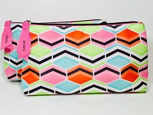 2pc Clinique Cosmetic Makeup Bags (Pink, orange,blue,green)