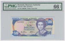Bermuda 10 Dollars 1989 P36 GEM UNC PMG EPQ 66 Tuna Fish Queen Elizabeth Serial