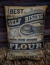 Primitive antique farmhouse label flour sack bag pillow old time kitchen country