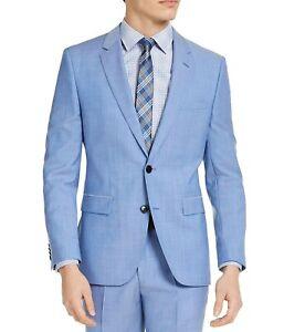 Hugo Boss Modern-Fit Light Blue Wool Suit Jacket Mens 40R Super 100 Italy $398