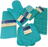 Kitchen Towel Set - Turquoise - Pot Holders, Oven Mitt, Dish Towel, Drying Mat