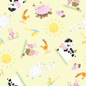 "Farmyard Animal 100% Pure Craft Cotton Material Fabric 45"" Width"