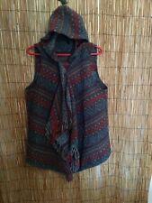 Hoodie Vest / Shawl - Size XL Southwestern Boho~~Lapis