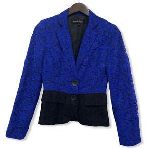 Nanette Lepore Women's Size 2 Royal Blue & Black Floral Lace Blazer Jacket euc