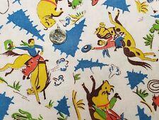 Best Vintage Feedsack Quilt Fabric Novelty Cowboys Rodeo Bull 40 Flour Sack