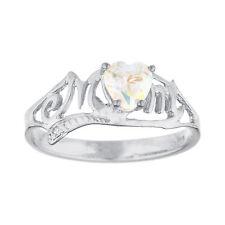Natural Mercury Mist Mystic Topaz & Diamond Heart Mom Ring .925 Sterling Silver