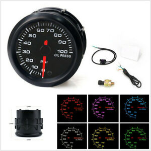 Universal 2Inch 52mm 7-Color LED Car Oil Pressure Gauge Oil Press Meter 0-100PSI