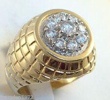 2.45 carat mens 9 cz cluster ring 18k gold overlay size 15