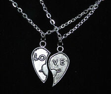 Pair of Broken Heart Pendant LOVE Necklaces for Couple, Sisters, Best Friends
