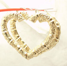 """2 3/8"""" Large Heart Shaped Textured Bamboo Hoop Earrings REAL 10K Yellow Gold"""