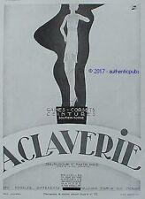 PUBLICITE CLAVERIE GAINE CORSET CEINTURE SOUTIEN GORGE DE 1931 FRENCH AD PUB
