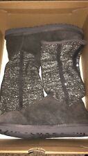 Ugg Womens Camaya Comfort Winter Boots Charcoal Gray Sparkle Knit Size 9