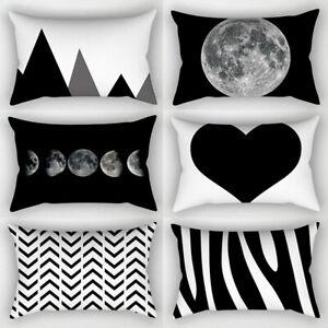 Simple Black White Geometric 30*50cm Pillowcases Throw Pillow Cushion Cover