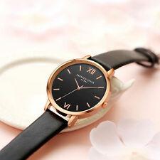 Ladies Fashion Rose Gold Black Faced Quartz Roman Numeral Black Band Wrist Watch
