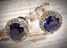 NWT 14K White Gold Ceylon Sapphire & Diamond Round Halo Style Stud Earrings
