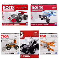 Bolts By Meccano Lot of 5 Building Toys - Car, Plane, Bulldozer, Biplane, Race C